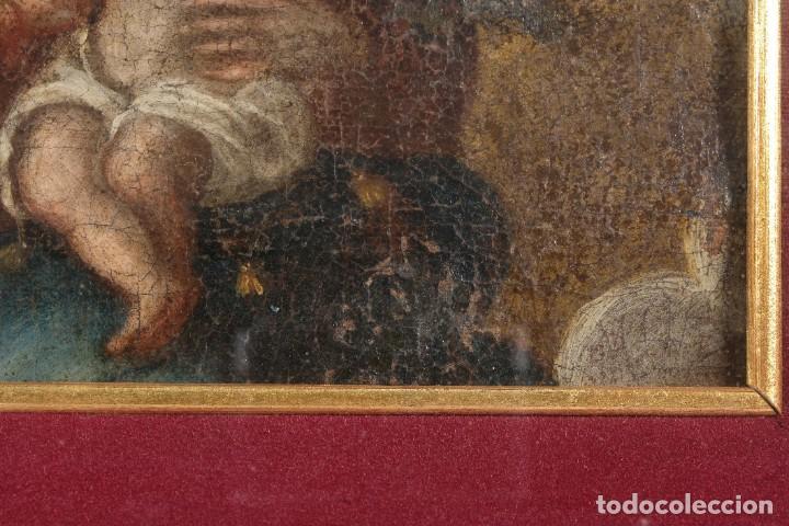 Arte: Óleo sobre lienzo Virgen con niño siglo XVII - Foto 7 - 243865680