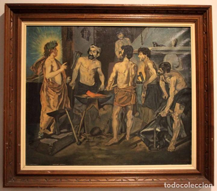 Arte: La Fragua de Vulcano, según Velazquez. Escuela española del siglo XX. Oleo sobre lienzo. Con marco. - Foto 14 - 243884170