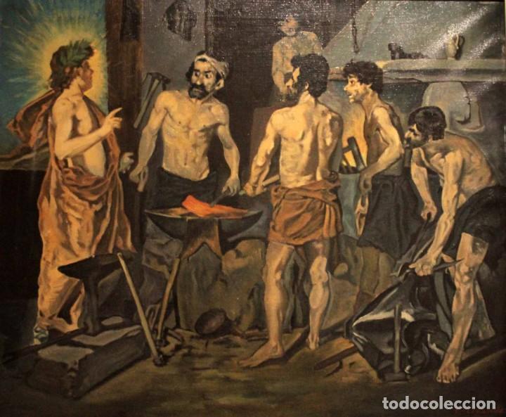 LA FRAGUA DE VULCANO, SEGÚN VELAZQUEZ. ESCUELA ESPAÑOLA DEL SIGLO XX. OLEO SOBRE LIENZO. CON MARCO. (Arte - Pintura - Pintura al Óleo Contemporánea )