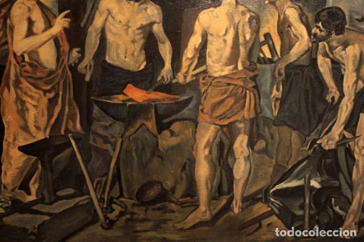Arte: La Fragua de Vulcano, según Velazquez. Escuela española del siglo XX. Oleo sobre lienzo. Con marco. - Foto 2 - 243884170