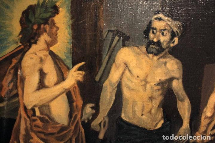 Arte: La Fragua de Vulcano, según Velazquez. Escuela española del siglo XX. Oleo sobre lienzo. Con marco. - Foto 4 - 243884170