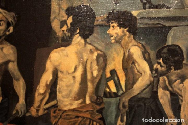 Arte: La Fragua de Vulcano, según Velazquez. Escuela española del siglo XX. Oleo sobre lienzo. Con marco. - Foto 5 - 243884170