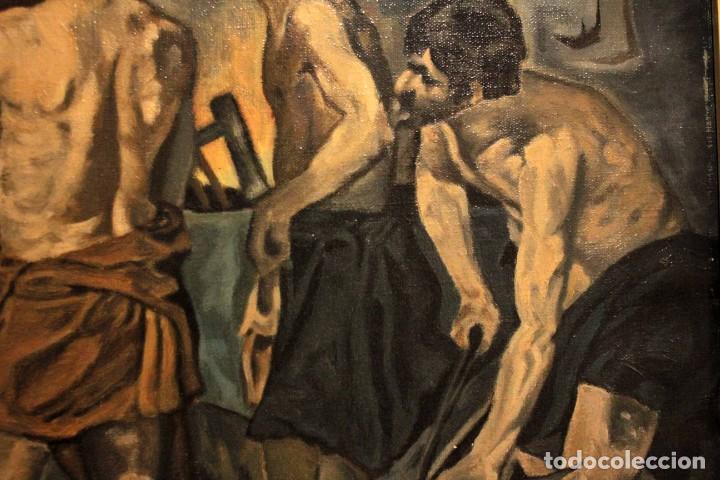 Arte: La Fragua de Vulcano, según Velazquez. Escuela española del siglo XX. Oleo sobre lienzo. Con marco. - Foto 6 - 243884170