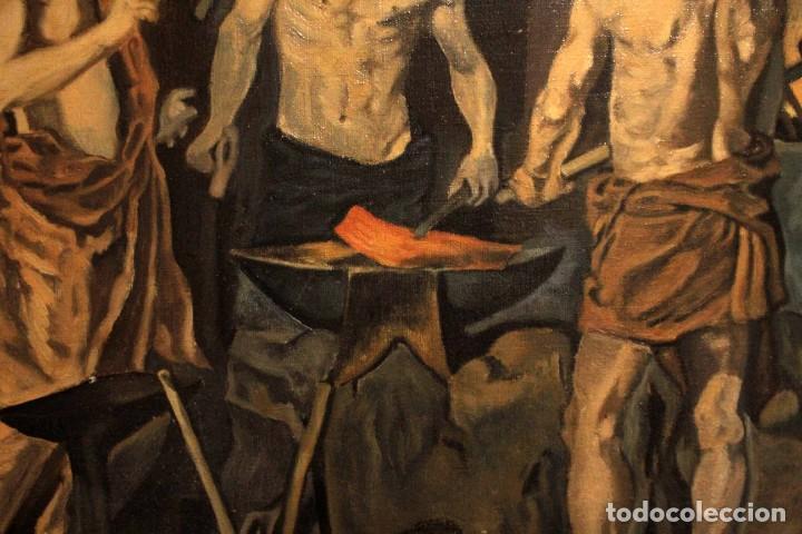 Arte: La Fragua de Vulcano, según Velazquez. Escuela española del siglo XX. Oleo sobre lienzo. Con marco. - Foto 8 - 243884170