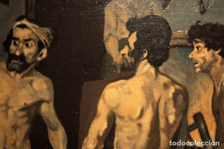 Arte: La Fragua de Vulcano, según Velazquez. Escuela española del siglo XX. Oleo sobre lienzo. Con marco. - Foto 9 - 243884170