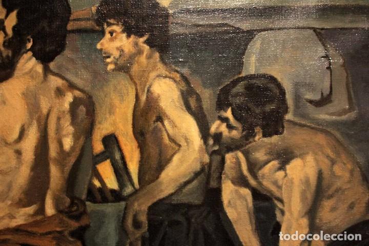 Arte: La Fragua de Vulcano, según Velazquez. Escuela española del siglo XX. Oleo sobre lienzo. Con marco. - Foto 10 - 243884170