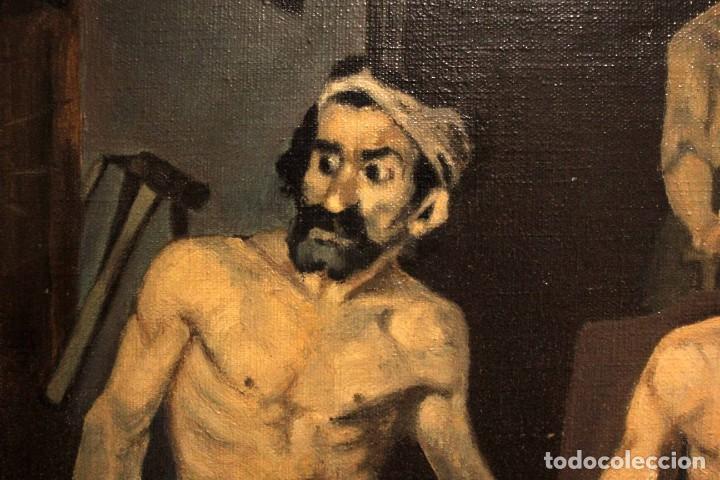 Arte: La Fragua de Vulcano, según Velazquez. Escuela española del siglo XX. Oleo sobre lienzo. Con marco. - Foto 11 - 243884170