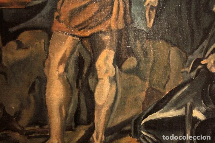 Arte: La Fragua de Vulcano, según Velazquez. Escuela española del siglo XX. Oleo sobre lienzo. Con marco. - Foto 13 - 243884170