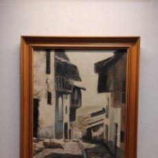 Arte: VISTA DE PUEBLO. VALVERDE DE LA VERA. PINTURA AL OLEO. FIRMADO CARRASCO. 39X47CM ENMARCADO. Lote 243888570