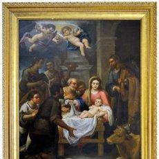 """Arte: ATRIBUIDO AL TALLER DE MURILLO. ÓLEO SOBRE LIENZO. """"ADORACIÓN DE LOS PASTORES"""". SIGLO XVII.. Lote 243950565"""