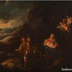 Arte: FRANCISCO DE ANTOLINEZ Y SARABIA.(1645-1700). ÓLEO SOBRE LIENZO. HUIDA A EGIPTO.. Lote 243950585