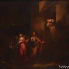Arte: FRANCISCO DE ANTOLINEZ Y SARABIA. (1645-1700). ÓLEO SOBRE LIENZO. LA VIRGEN Y SAN JOSÉ BUSCANDO POSA. Lote 243950660