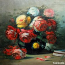 Arte: FRANCISCO RUIZ FERRANDIS (VALENCIA,1909 - 1992) OLEO SOBRE TELA TITULADO ROSAS VALENCIANAS. AÑO 1953. Lote 243956380
