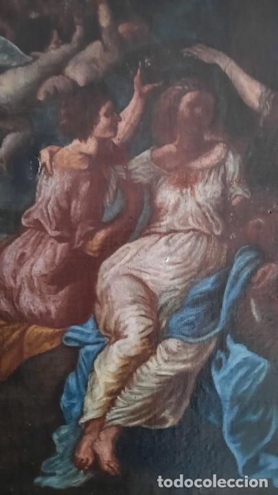 Arte: magnifica pintura al oleo de fin del xvii principios xviii tema mitologico con angeles,marco antiguo - Foto 21 - 240771520