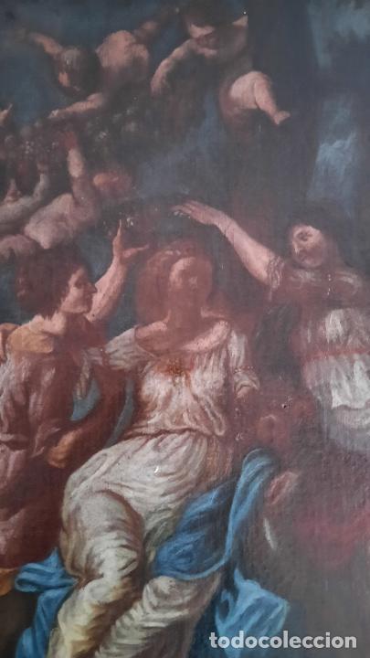 Arte: magnifica pintura al oleo de fin del xvii principios xviii tema mitologico con angeles,marco antiguo - Foto 5 - 240771520
