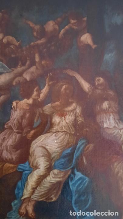 Arte: magnifica pintura al oleo de fin del xvii principios xviii tema mitologico con angeles,marco antiguo - Foto 20 - 240771520
