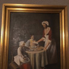 Arte: ÓLEO SOBRE LIENZO REPRESENTA ESCENA DOMÉSTICA S. XVIII. Lote 244414520