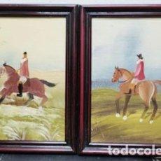 Arte: DOS OLEOS SOBRE TABLA ENMARCADOS ESCENAS ECUESTRES - CUADRO-326. Lote 244416090