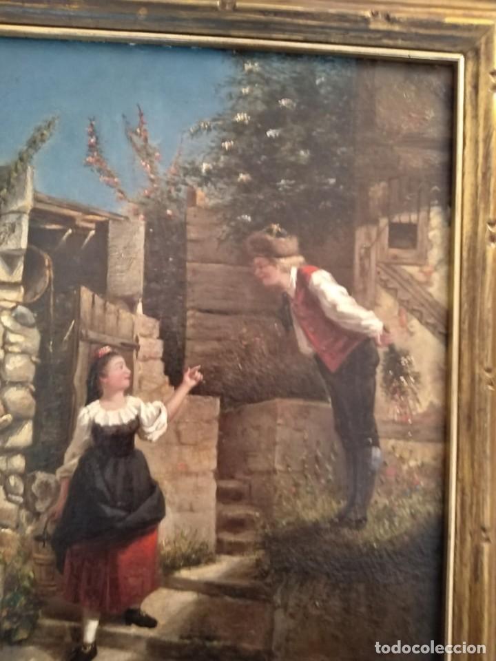 Arte: Preciosa pintura al óleo de escena costumbrista posiblemente holandesa por sólo doscientos veinte eu - Foto 2 - 244423015