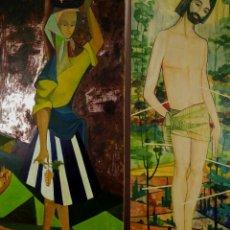 Arte: SAN SEBASTIÁN Y CAMPESINA. ANÓNIMOS. PINTURAS AL ÓLEO SOBRE MADERA. ESPAÑA. CIRCA 1960. Lote 244480865