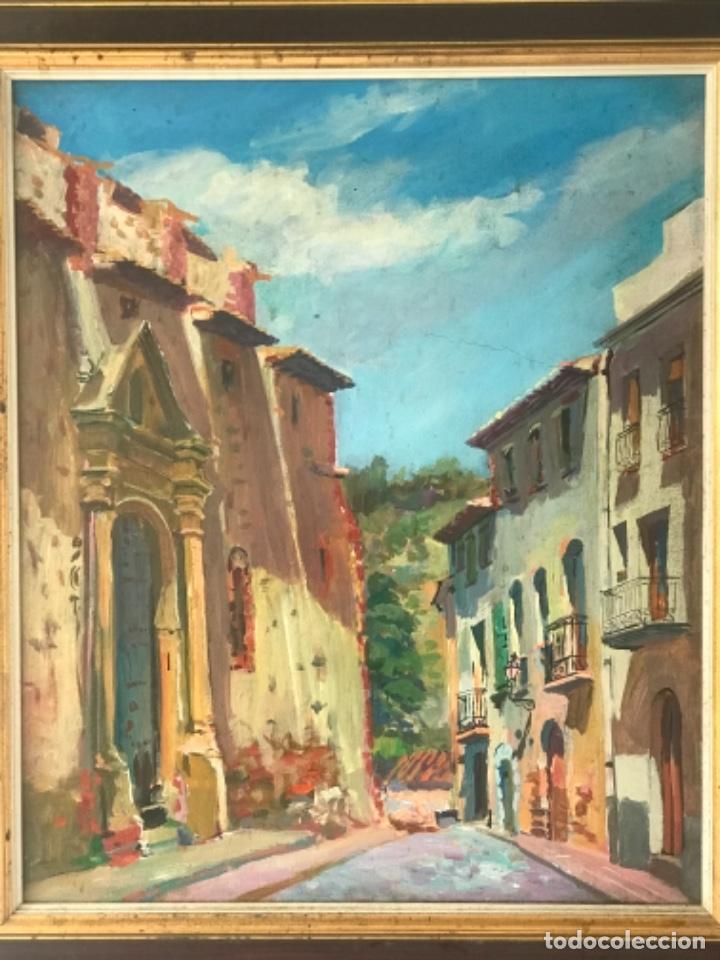 OLEO SOBRE LIENZO DE JOSEP NICOLAS 1980. CARRER DIMECRES. RIUDECANYES TARRAGONA. (Arte - Pintura - Pintura al Óleo Contemporánea )