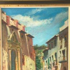 Arte: OLEO SOBRE LIENZO DE JOSEP NICOLAS 1980. CARRER DIMECRES. RIUDECANYES TARRAGONA.. Lote 244483960
