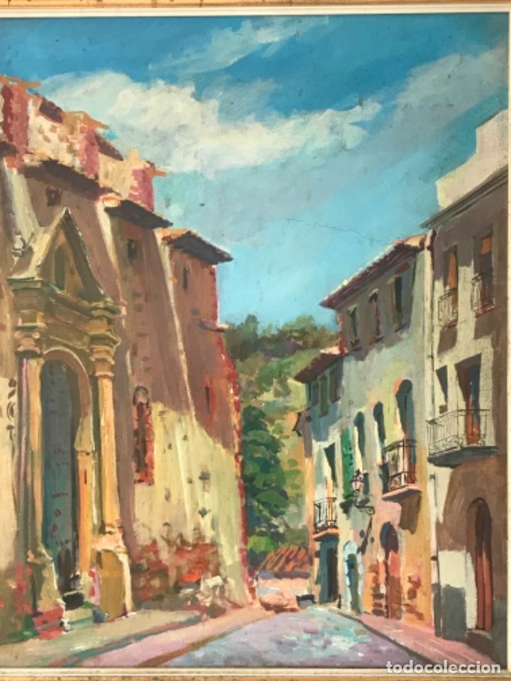 Arte: OLEO SOBRE LIENZO DE JOSEP NICOLAS 1980. CARRER DIMECRES. RIUDECANYES TARRAGONA. - Foto 3 - 244483960