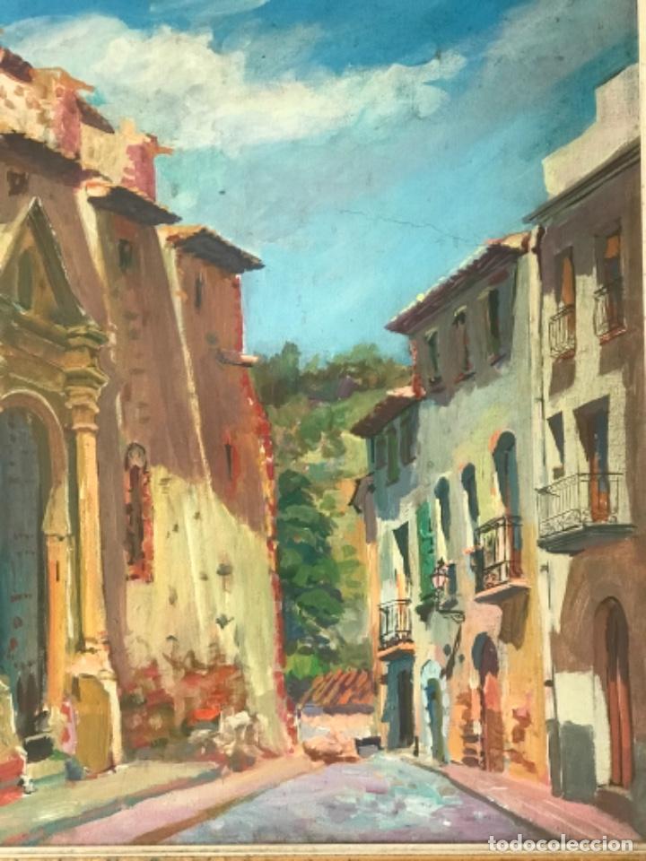 Arte: OLEO SOBRE LIENZO DE JOSEP NICOLAS 1980. CARRER DIMECRES. RIUDECANYES TARRAGONA. - Foto 7 - 244483960
