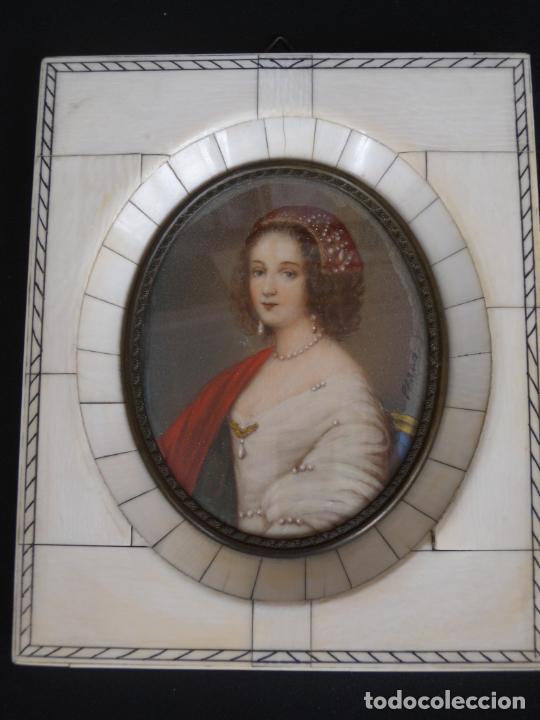 MINIATURA PINTADA Y FIRMADA (Arte - Pintura - Pintura al Óleo Antigua siglo XVIII)