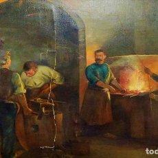 Arte: HERREROS EN LA FRAGUA. FIRMADO. JORGE ALIAS. ÓLEO SOBR LIENZO. ESPAÑA. PRINCIPIO SIGLO XX. Lote 244536525
