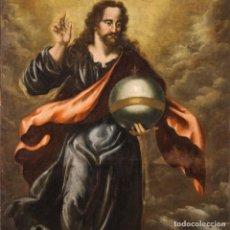 Arte: GRAN PINTURA ANTIGUA SALVATOR MUNDI DEL SIGLO XVIII. Lote 244572135