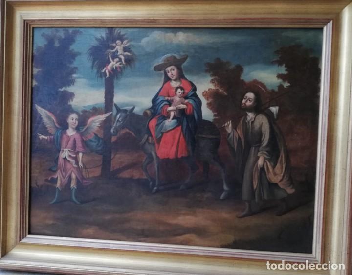 Arte: Escuela Sevillana. Seguidor de Matías de Arteaga (siglo XVII-XVIII) La Huida a Egipto. - Foto 2 - 129223334