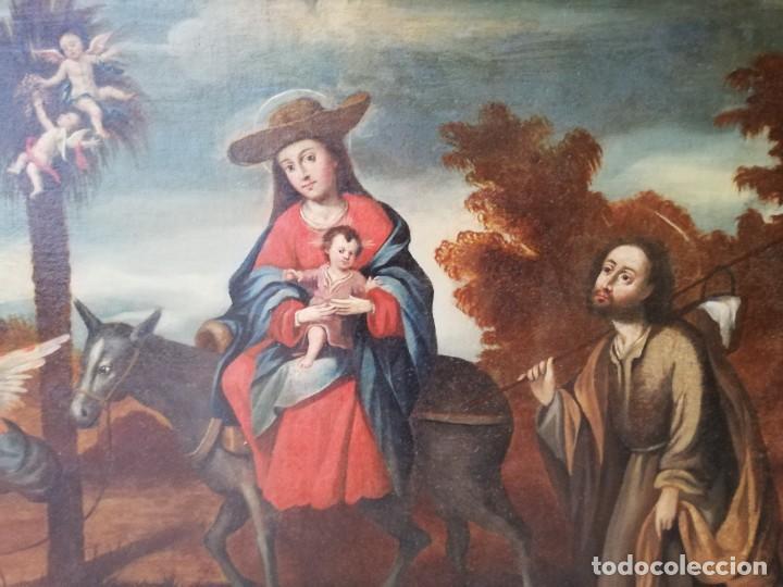 Arte: Escuela Sevillana. Seguidor de Matías de Arteaga (siglo XVII-XVIII) La Huida a Egipto. - Foto 4 - 129223334