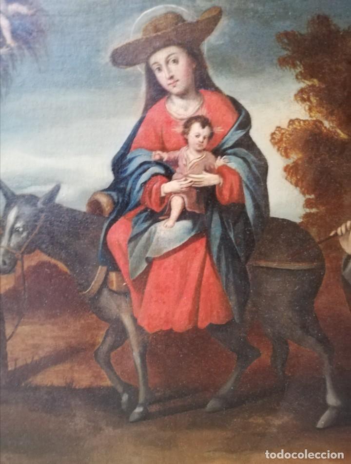 Arte: Escuela Sevillana. Seguidor de Matías de Arteaga (siglo XVII-XVIII) La Huida a Egipto. - Foto 3 - 129223334