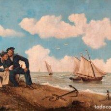 Arte: MARINA, BARCOS, MARINEROS Y PLAYA, 1887, PINTURA AL ÓLEO SOBRE TELA, INSCRIPCIÓN TRASERA, MADRID.. Lote 244699570