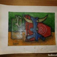 Arte: PINTURA AL ÓLEO, IMAGEN ABSTRACTO. FIRMA DEL AUTOR, AÑO '96. 23X17,3CM. W. Lote 244742025