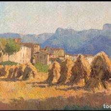 Arte: FRANCESC CARBONELL I MASSABÉ (1928) - MEULES DE FOIN (SANT ESTEVE D'EN BAS, GERONE). Lote 244898230