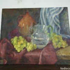 Arte: IMPRESIONANTE OLEO A RESTAURAR BODEGÓN JARRA UVAS FIRMADO PORTERO. Lote 245024365