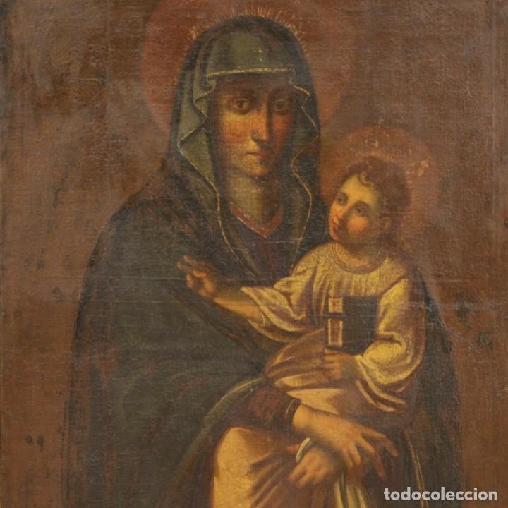 ANTIGUA VIRGEN CON EL NIÑO DEL SIGLO XVII (Arte - Pintura - Pintura al Óleo Antigua siglo XVII)