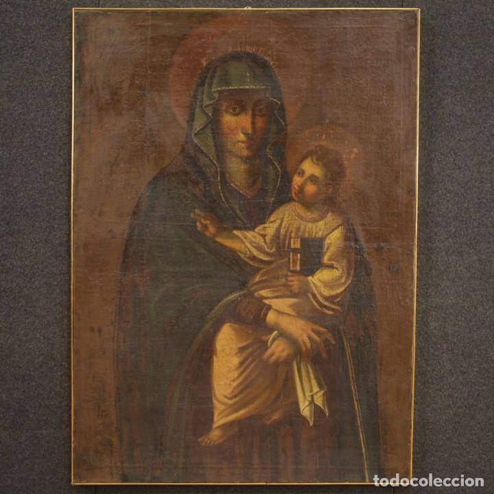 Arte: Antigua Virgen con el Niño del siglo XVII - Foto 2 - 245088695