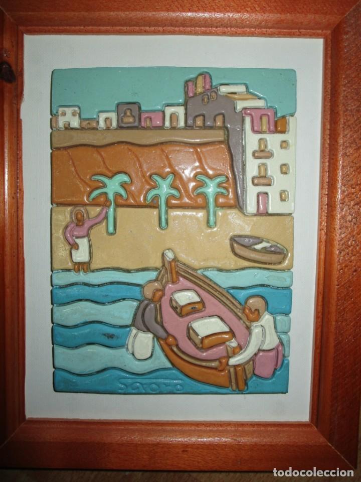 ANTIGUO CUADRO CERAMICA ALICANTE FIRMADO (Arte - Pintura - Pintura al Óleo Contemporánea )