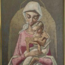 Arte: PRECIOSA PINTURA VINTAGE DE CALIDAD VIRGEN CON NIÑO, SIN FIRMA.. Lote 245446595