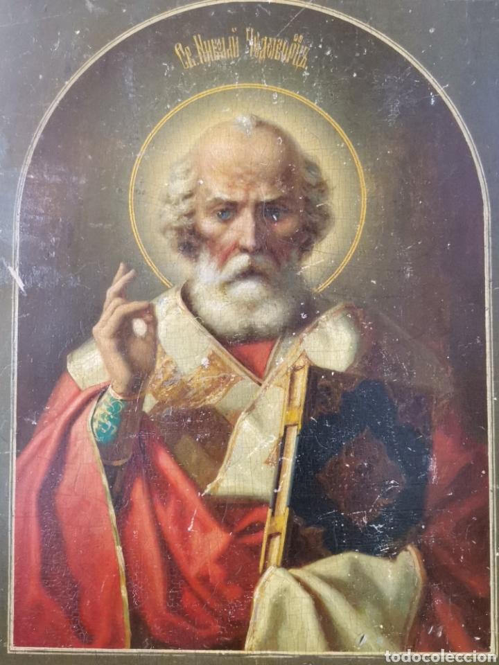 ÓLEO SOBRE TABLA ICONO RUSO S. XVIII XIX IMPRESIONANTE (Arte - Pintura - Pintura al Óleo Antigua siglo XVIII)