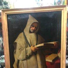Kunst: OLEO SOBRE LIENZO SIGLO XIX MONJE CARTUJANO DE JEREZ REPLICA DE ZURBARAN - MEDIDA MARCO 90X69 CM. Lote 245719345