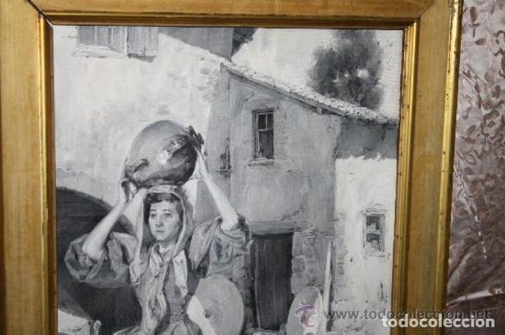 Arte: MUJER CON CANTARO. OLEO-GRISALLA SOBRE LIENZO. JOSEP TRIADÓ I MAYOL. SIGLO XX - Foto 4 - 245923800