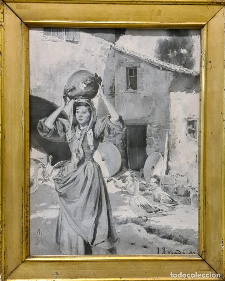 MUJER CON CANTARO. OLEO-GRISALLA SOBRE LIENZO. JOSEP TRIADÓ I MAYOL. SIGLO XX (Arte - Pintura - Pintura al Óleo Contemporánea )