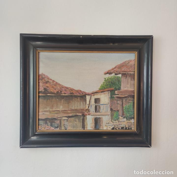 Arte: Oleo sobre lienzo. Paisaje popular. Hórreos asturianos. Firmado B. Carriedo. Siglo XX. - Foto 2 - 245967710