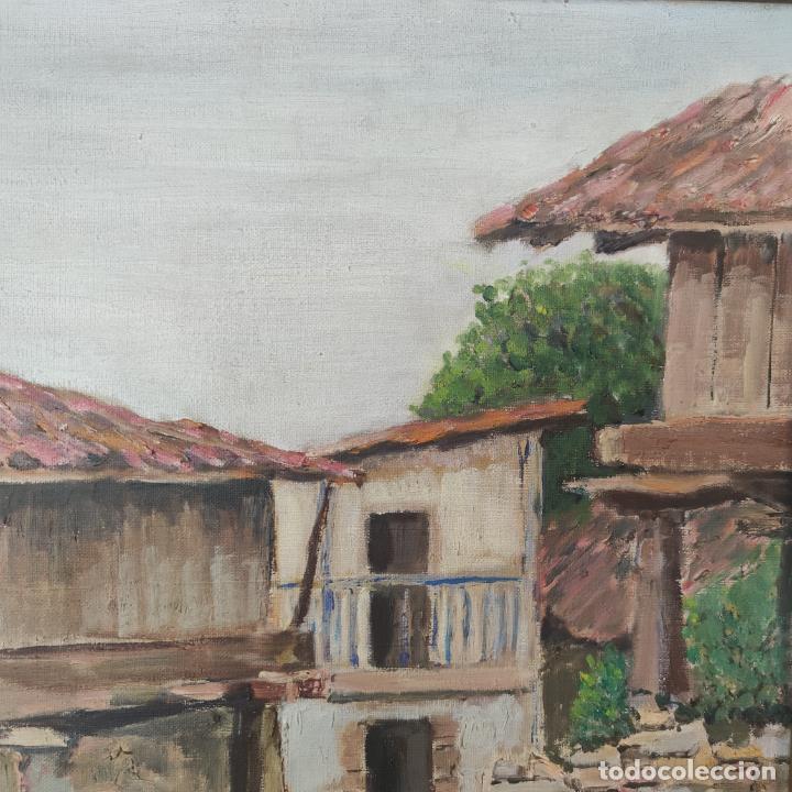 Arte: Oleo sobre lienzo. Paisaje popular. Hórreos asturianos. Firmado B. Carriedo. Siglo XX. - Foto 3 - 245967710
