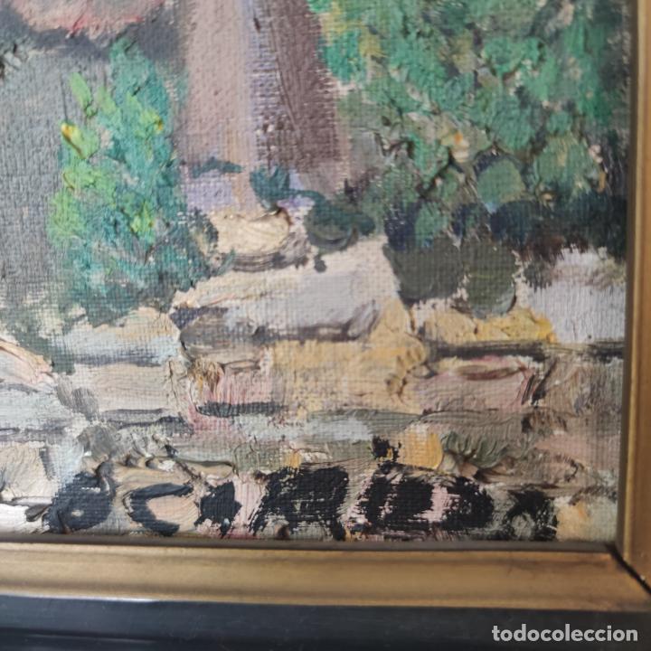 Arte: Oleo sobre lienzo. Paisaje popular. Hórreos asturianos. Firmado B. Carriedo. Siglo XX. - Foto 4 - 245967710