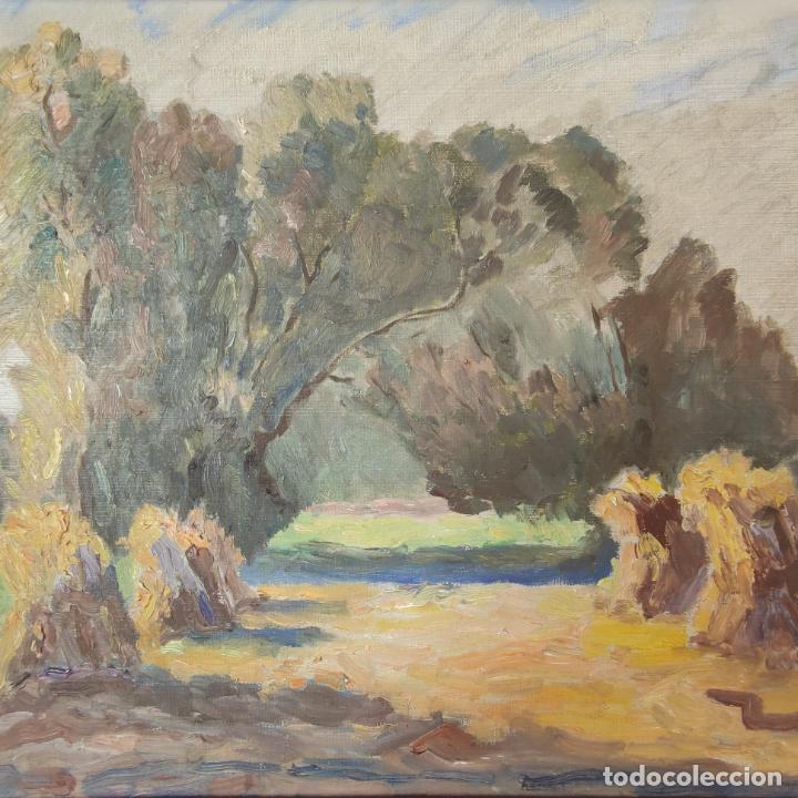 Arte: Oleo sobre lienzo. Paisaje campestre. Montones de paja. Siglo XIX-XX. - Foto 2 - 245969080